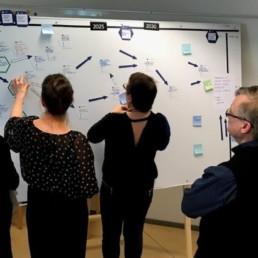 Työpajaan osallistujat hahmottelevat tauluklle silakan arvojetjun kehittämistä