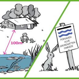 Postikorttikuva, jossa 100m vesistön äärellä sijaitseva rantatontti, toisella puolella jänis ja