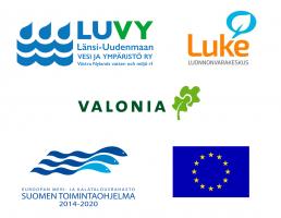 LUVYn, LUKEn, Valonian sekä Euroopan meri- ja kalatalousohjelman logot