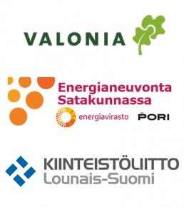 Valonian, Satakunnan energianeuvonnan ja Kiinteistöliiton logot.