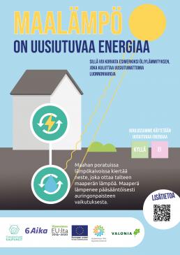 Juliste: Maalämpö on uusiutuvaa energiaa, jolla voi korvata esimerkiksi fossiilisen öljylämmityksen
