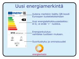Kuva uudesta energiamerkinnästä (Energiavirasto)