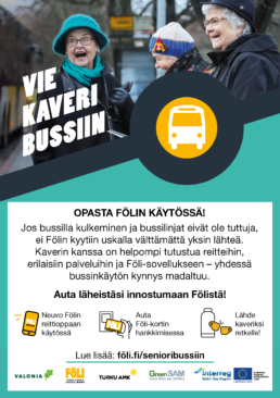 Flyer, jossa kerrotaan Vie kaveri bussiin -kampanjasta. Taustalla kuva nauravista rouvista.